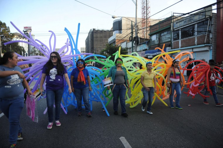 Revelers take part in the Gay Pride Parade in Guatemala City, on June 27, 2015. (Johan Ordonez/AFP/Getty Images)