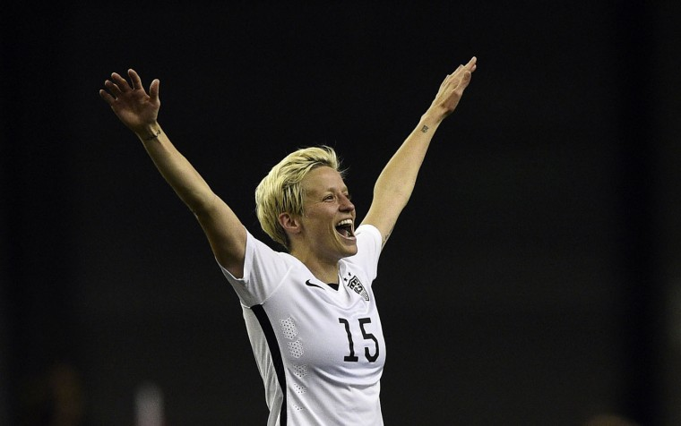 USA midfielder Megan Rapinoe celebrates after winning the semi-final football match between USA and Germany during their 2015 FIFA Women's World Cup at the Olympic Stadium in Montreal on June 30, 2015. (Franck Fife/AFP/Getty Images)