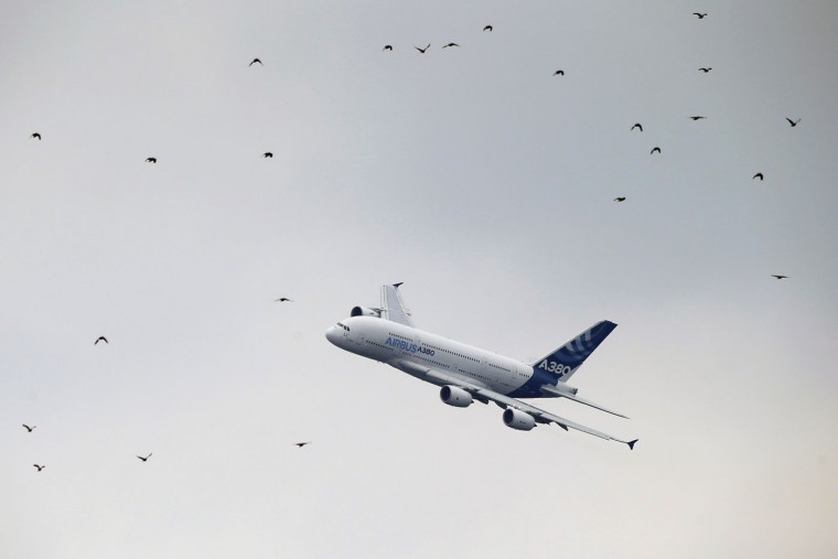 An Airbus A380 performs its demonstration flight during the Paris Air Show, at Le Bourget airport, north of Paris, Monday, June 15, 2015. Some 300,000 aviation professionals and spectators are expected at this week's Paris Air Show, coming from around the world to make business deals and see dramatic displays of aeronautic prowess and the latest air and space technology. (AP Photo/Francois Mori)