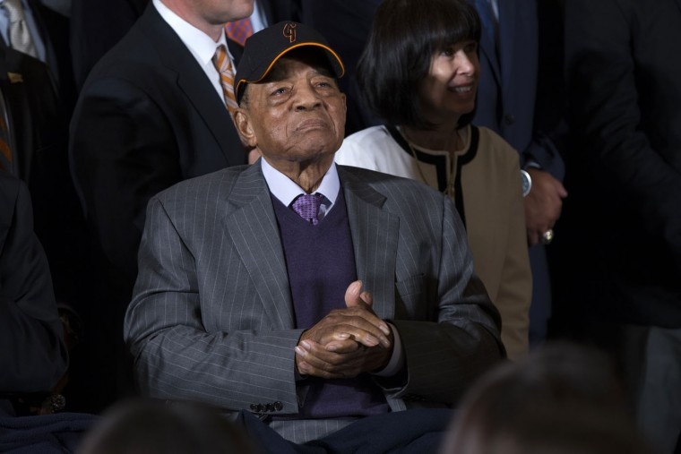 San Francisco Giants Hall of Fame baseball player Willie Mays listens in the East Room of the White House in Washington, Thursday, June 4, 2015, during a ceremony where President Barack Obama honored the 2014 World Series champion baseball team. (AP Photo/Evan Vucci)