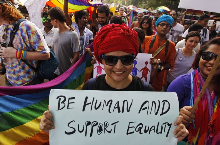 Activists of the Lesbian, Gay, Bisexual and Transgender (LGBT) rights and their supporters participate in a Rainbow Pride Rally in Chennai, India, Sunday, June 28, 2015. The participants also hailed the U.S. Supreme Court ruling, giving same-sex couples the right to marry in all 50 states. (AP Photo/Arun Sankar K)