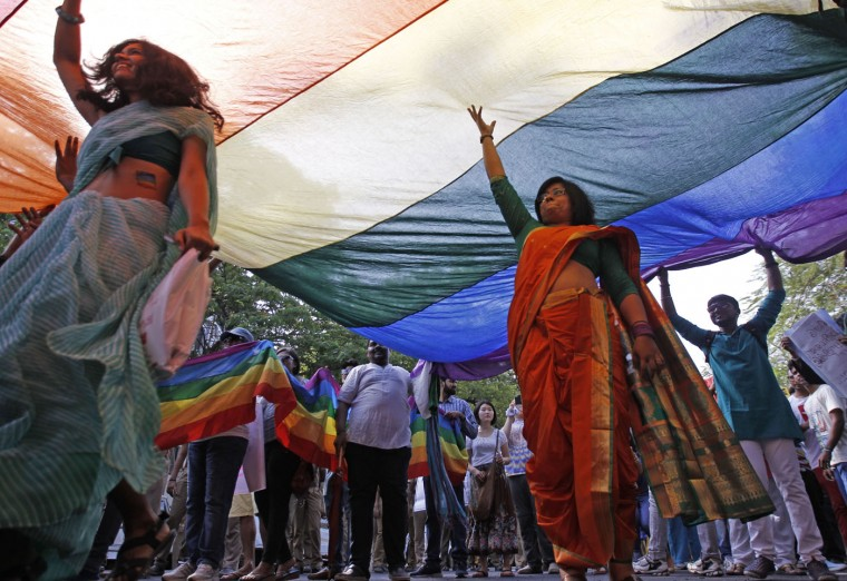 Activists of the Lesbian, Gay, Bisexual and Transgender (LGBT) rights and their supporters participate in a Rainbow Pride Rally in Chennai, India, Sunday, June 28, 2015. The participants hailed Friday's U.S. Supreme Court ruling, giving same-sex couples the right to marry in all 50 states. (AP Photo/Arun Sankar K)