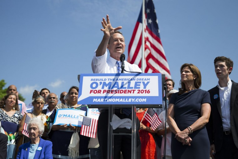 "Former Maryland Gov. Martin O'Malley speaks during an event to announce that he is entering the Democratic presidential race, on Saturday, May 30, 2015, in Baltimore. O'Malley joined the Democratic presidential race with a longshot challenge to Hillary Rodham Clinton for the 2016 nomination. ""I'm running for you,"" he told a crowd of about 1,000 people at Federal Hill Park in Baltimore, where he served as mayor before two terms as governor. (AP Photo/Evan Vucci)"