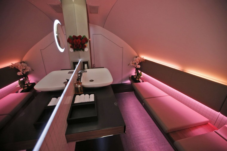 Interior view of the toilets in the second floor first class section of the Airbus A380 of Qatar Airways during a visit at the Paris Air Show, in Le Bourget airport, north of Paris, Wednesday, June 17, 2015. Qatar Airways has brought 4 Airbus A380's in service since last year. (AP Photo/Francois Mori)
