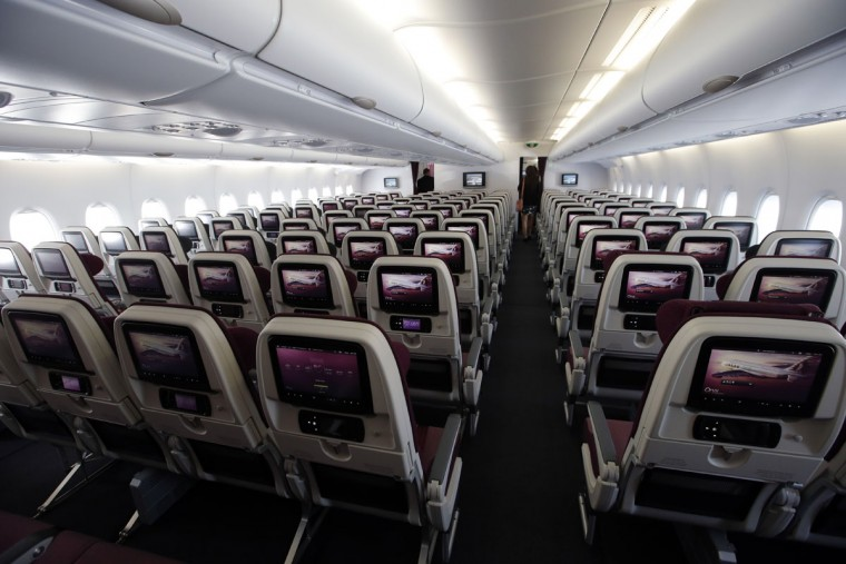 Interior view of the economy class of the Airbus A380 of Qatar Airlines during a visit at the Paris Air Show, in Le Bourget airport, north of Paris, Wednesday, June 17, 2015. Qatar Airways has brought 4 Airbus A380's in service since last year. (AP Photo/Francois Mori)
