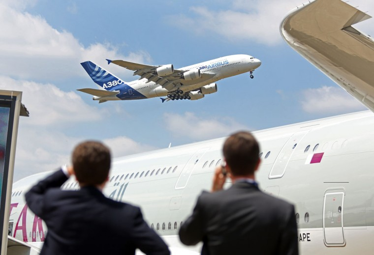 An Airbus A380 performs its demonstration flight at the Paris Air Show in Le Bourget, north of Paris, Wednesday June 17, 2015. Some 300,000 aviation professionals and spectators are expected at this weekís Paris Air Show, coming from around the world to make business deals and see dramatic displays of aeronautic prowess and the latest air and space technology. (AP Photo/Remy de la Mauviniere)