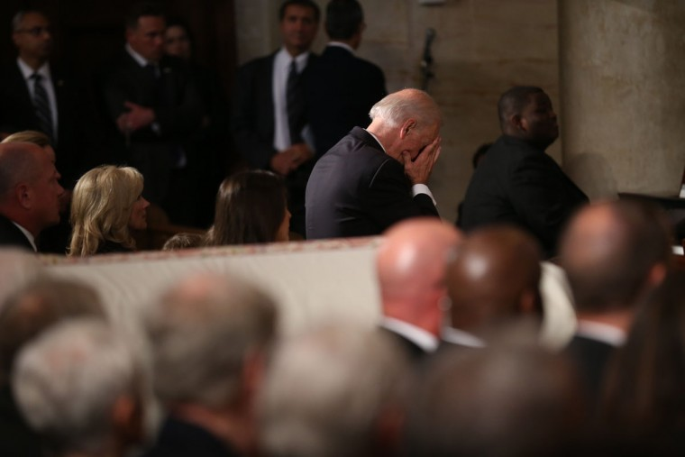 Vice President Joe Biden pauses during a funeral mass for his son Beau Biden, Saturday, June 6, 2015, at St. Anthony of Padua Church in Wilmington, Del. (Doug Mills/The New York Times via AP, Pool)