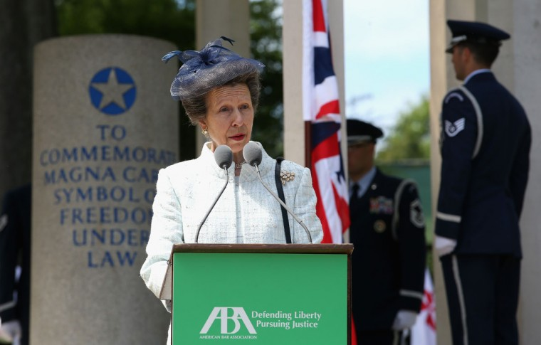 Princess Anne, Princess Royal attends a Magna Carta 800th Anniversary Commemoration Event on June 15, 2015 in Runnymede, United Kingdom. Members of the Royal Family are visiting Runnymede to attend an event commemorating the 800th anniversary of Magna Carta. Magna Carta is widely recognised as one of the most significant documents in history. Its influence, as a cornerstone of fundamental liberties, is felt around the world in the constitutions and political traditions of countless nations. (Photo by Chris Jackson - WPA Pool / Getty Images)