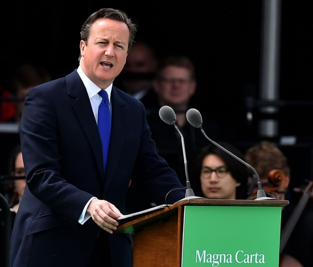 British Prime Minister David Cameron delivers a speech during a service to mark the 800th anniversary of Magna Carta on June 15, 2015 in Runnymede, United Kingdom. Members of the Royal Family are visiting Runnymede to attend an event commemorating the 800th anniversary of Magna Carta. Magna Carta is widely recognised as one of the most significant documents in history. Its influence, as a cornerstone of fundamental liberties, is felt around the world in the constitutions and political traditions of countless nations. (Photo by Ben Stansall - WPA Pool / Getty Images)