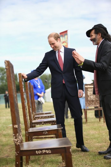Prince William, Duke of Cambridge is shown a specially created Magna Carta chair on June 15, 2015 in Runnymede, United Kingdom. Members of the Royal Family are visiting Runnymede to attend an event commemorating the 800th anniversary of Magna Carta. Magna Carta is widely recognised as one of the most significant documents in history. Its influence, as a cornerstone of fundamental liberties, is felt around the world in the constitutions and political traditions of countless nations. (Photo by Chris Jackson - WPA Pool / Getty Images)