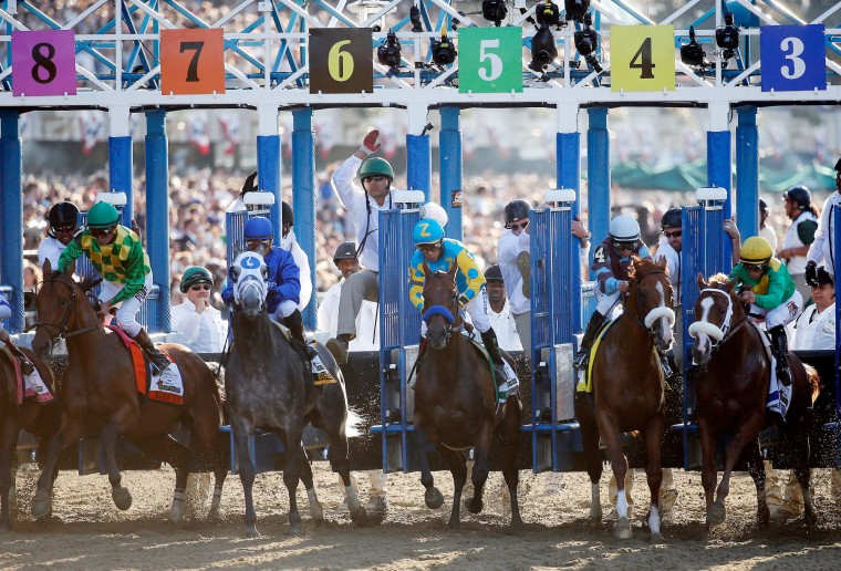 The field leaves the starting gate at the beginning of the 147th running of th0e Belmont Stakes at Belmont Park in Elmont, New York. (Rob Carr/Getty Images)
