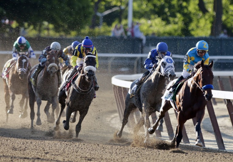 American Pharoah, with Victor Espinoza up, rounds the fourth turn at the 147th running of the Belmont Stakes horse race Saturday, June 6, 2015, in Elmont, N.Y. Kentucky Derby and Preakness is the first winner of the Triple Crown win since Affirmed won it in 1978. (Frank Franklin II/Associated Press)