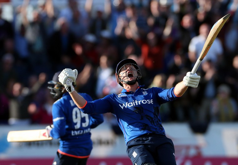 England's Jonny Bairstow, center, celebrates winning the match during the one day international match between England and New Zealand at the Riverside cricket ground, Chester-le-Street, England. (Scott Heppell/Associated Press)
