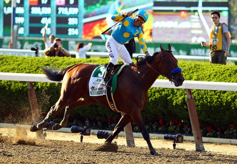 Victor Espinoza, celebrates atop American Pharoah #5, after winning the 147th running of the Belmont Stakes at Belmont Park in Elmont, New York. With the wins American Pharoah becomes the first horse to win the Triple Crown in 37 years. (Al Bello/Getty Images)