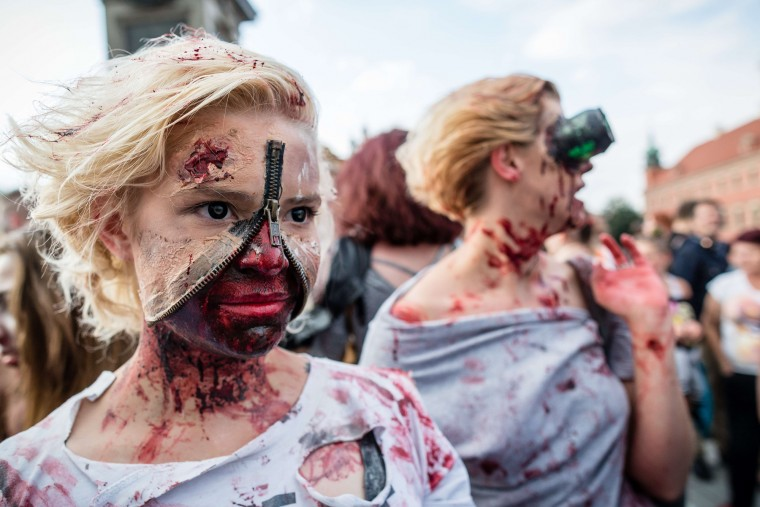 Revelers take part in the Zombiewalk, an annual parade of Zombie movie enthusiasts, in Warsaw. (Wojtek Radwanski/AFP-Getty Images)