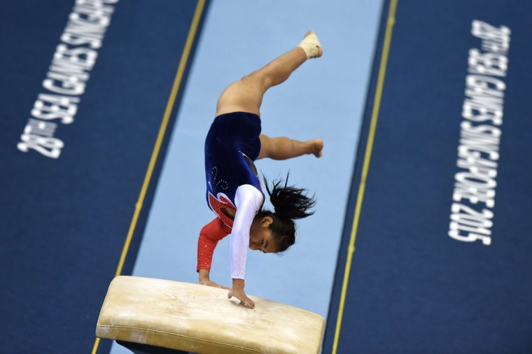 Thailand's Kanyanat Boontoeng competes during the women's vault gymnastics final at the 28th Southeast Asian Games (SEA Games) in Singapore on June 9, 2015. (ROSLAN RAHMAN/AFP/Getty Images)