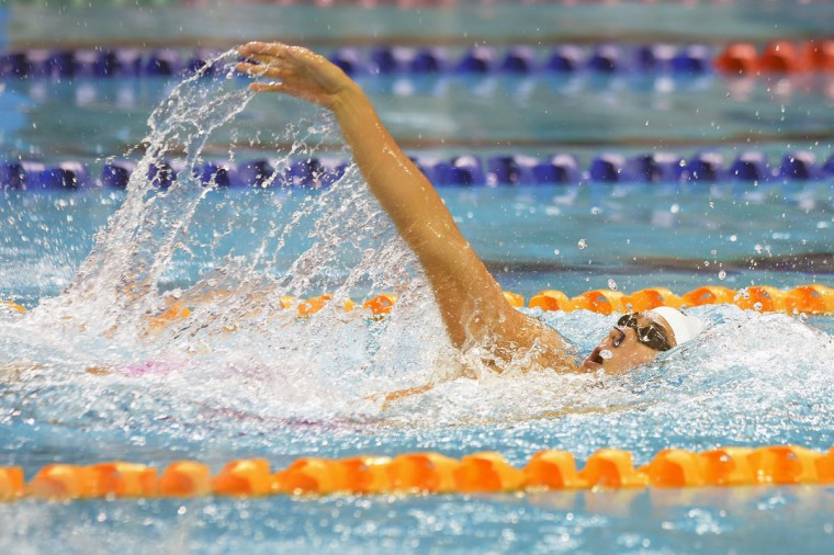 Quah Zheng Wen, of Singapore, swims in the Men's 200m Backstroke Final at the SEA Games in Singapore, Monday, June 8, 2015.(AP Photo/Joseph Nair)
