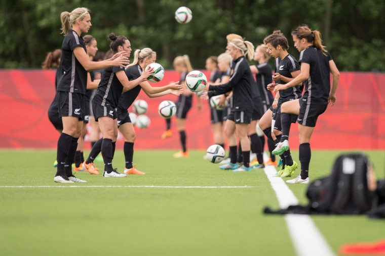 New Zealand practices in preparation for their match Thursday against Canada at the FIFA Women's World Cup in Edmonton, Canada on June 8, 2015. (GEOFF ROBINS/AFP/Getty Images)