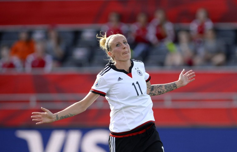 Germany's Anja Mittag celebrates her goal during second half FIFA Women's World Cup soccer action in Ottawa, Ontario, Sunday, June 7, 2015. (Justin Tang/The Canadian Press via AP)