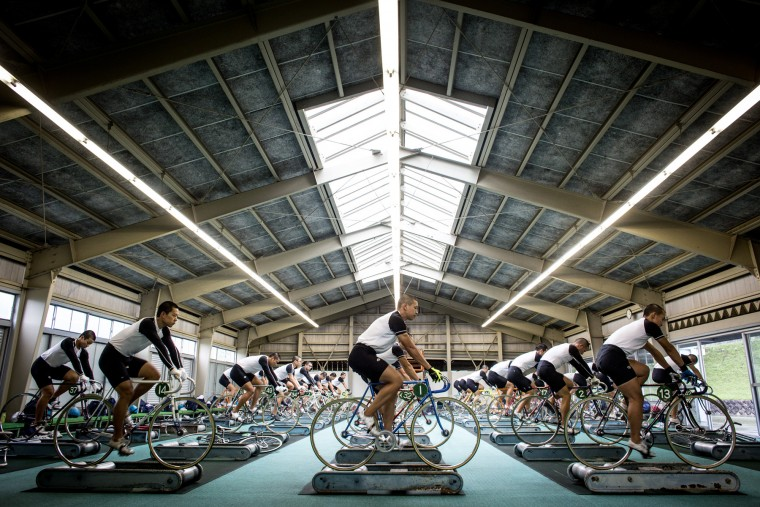 Keirin students train on rollers at the Nihon Keirin Gakkou (Japan Keirin School) on July 8, 2015 in Izu, Japan. (Photo by Chris McGrath/Getty Images)