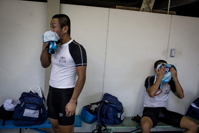 Keirin students recover after a two hour training session at the Nihon Keirin Gakkou (Japan Keirin School) on July 8, 2015 in Izu, Japan. (Photo by Chris McGrath/Getty Images)