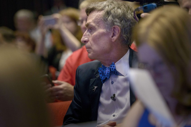 "Television host Bill Nye the ""Science Guy,"" listens during a presentation at the Johns Hopkins University Applied Physics Laboratory July 14, 2015 in Laurel (AFP PHOTO/BRENDAN SMIALOWSKIBRENDAN SMIALOWSKI/AFP/Getty Images)"