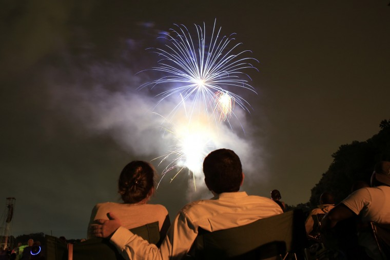 Fireworks at Oregon Ridge Park. Photo taken with Canon 5D Mark III and EF 28mm f/1.8 lens. The f-stop was set to 7.1, the ISO at 640. The exposure time was 3.2 seconds. (Tom Brenner / The Baltimore Sun.)