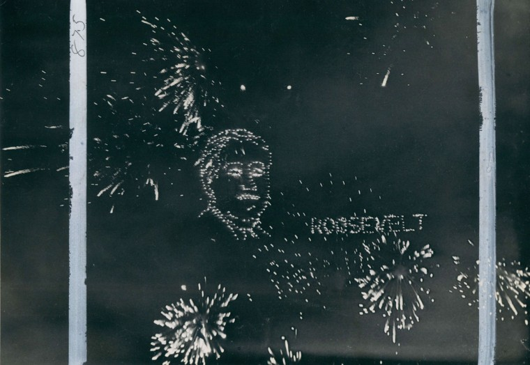 A firework display of President Roosevelt during Independence Day celebrations in 1936. (Baltimore Sun archives)