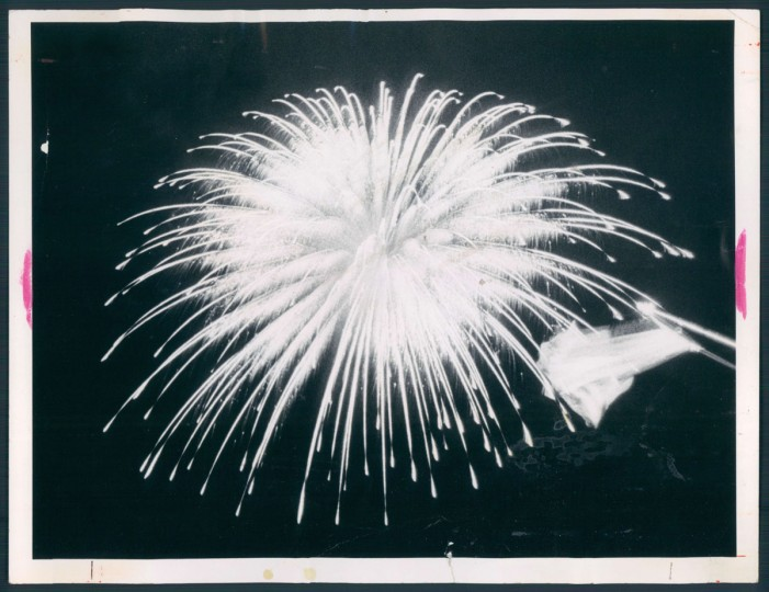 A symbolic bomb-burst in the air over Memorial Stadium proved to the large crowd that the flag was still there. (Ken Geiger/Baltimore Sun, 1979)