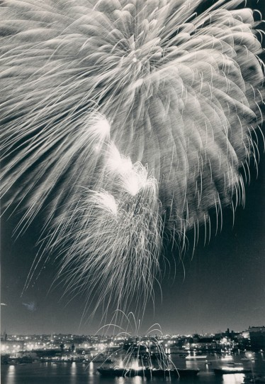 Inner Harbor fireworks being shot from a barge by the Domino Sugar plant. (Gene Sweeney/Baltimore Sun, 1984)