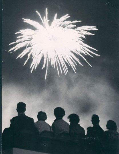 Sunburst after dark is part of the Fourth of July display, which was attended by more than 21,000 at Memorial Stadium on July 5, 1965. (Baltimore Sun archives)