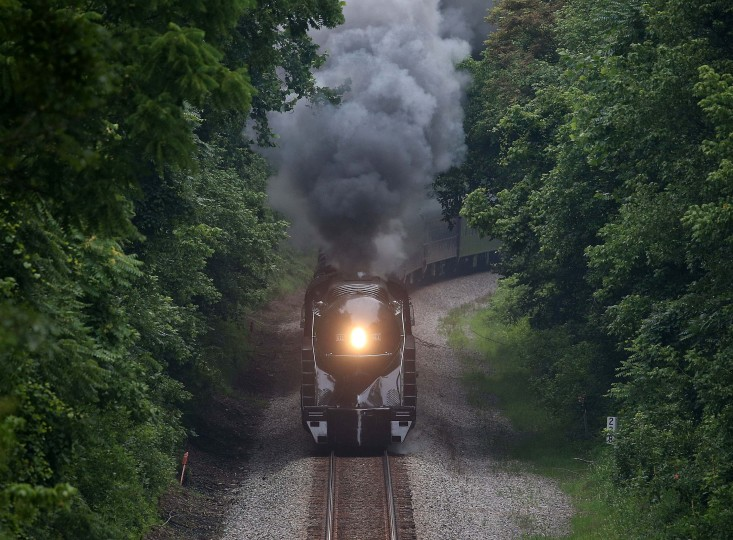 BEDFORD, VA - JULY 03: The recently restored former Norfolk and Western Railway J class steam locomotive 611 passes by during an excursion July 3, 2015 in Bedford, Virginia. The 611 was originally retired and replaced by diesel locomotives in 1959 and now is running excursions on a limited schedule. (Photo by Mark Wilson/Getty Images)
