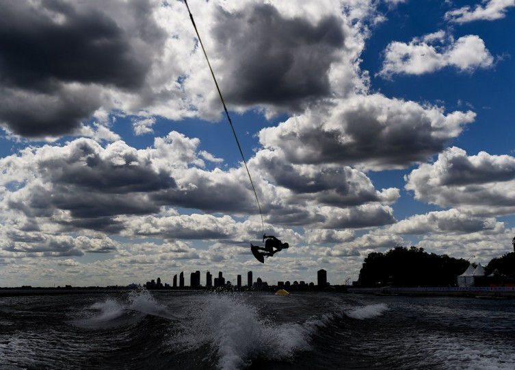 Rusty Malinoski of Canada competes in the Men's Wakeboard Semifinal during the Pan American Games in Toronto July 21, 2015. (Nathan Denette/AFP/Getty Images)