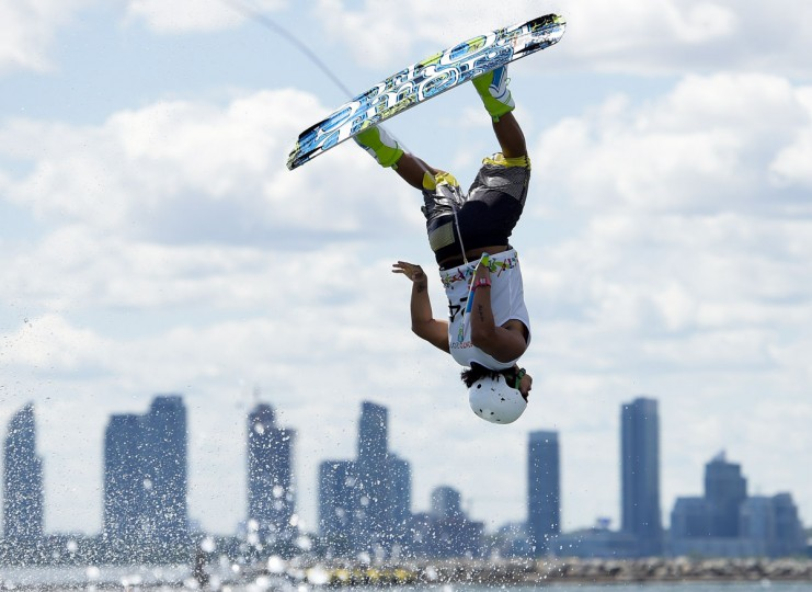 Jamie Bazan of Ecuador competes in the Men's Wakeboard Semifinal during the Pan American Games in Toronto July 21, 2015. (Nathan Denette/AFP/Getty Images)
