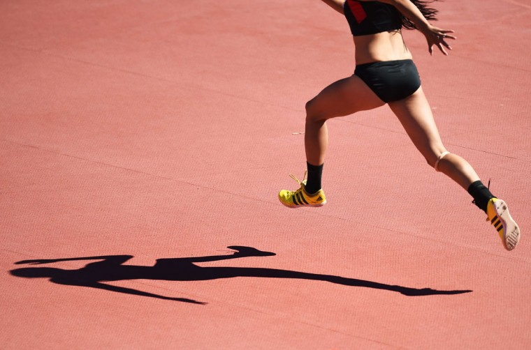 Emma Kimoto of Canada competes during the Women's High Jump at the 2015 Pan American Games in Toronto, Canada, July 22, 2015. (JIM WATSON/AFP/Getty Images)