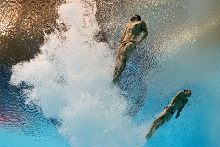Ukraine divers Oleksandr Gorshkovosov and Illya Kvasha compete in the Men's 3m Springboard Synchronised final diving event at the 2015 FINA World Championships in Kazan on July 28, 2015. (XAVIER MARITFRANCOIS XAVIER MARIT/AFP/Getty Images)