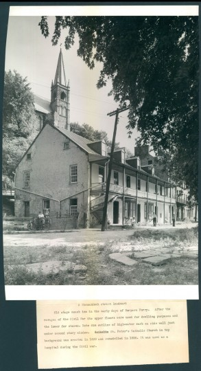 Old stage coach inn in the early days of Harpers Ferry. (A. Aubrey Bodine/Baltimore Sun, 1943)