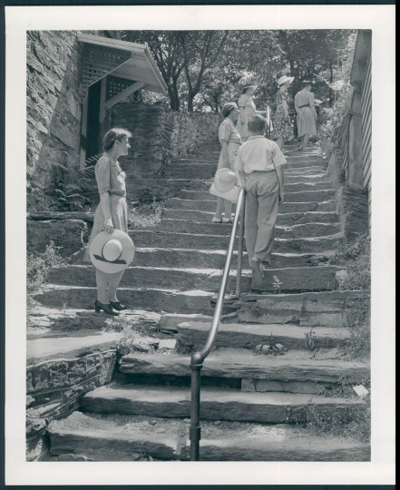 Steps leading to Harper House and Catholic church. (A. Aubrey Bodine/Baltimore Sun, 1943)