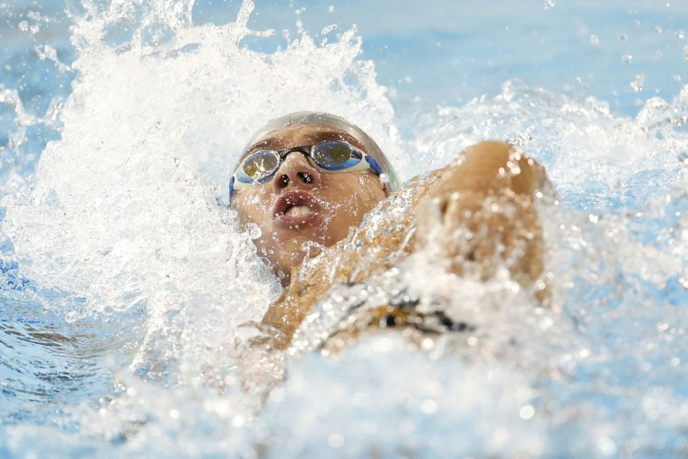 Brazil's Gabrielle Goncalves competes in the women's 400m individual medley at the Pan Am Games in Toronto, Thursday, July 16, 2015. (AP Photo/Julio Cortez)
