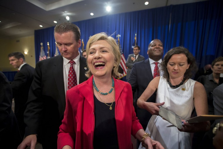 Democratic presidential hopeful Hillary Rodham Clinton greets supporters after a campaign event, Thursday, July 23, 2015 in Columbia, S.C. Clinton talked about what she said was a lack of educational and economic opportunities, and a criminal justice system that treats blacks more harshly than whites. (AP Photo/Stephen B. Morton)
