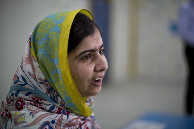 "Nobel Peace Prize laureate Malala Yousafzai, 18, speaks during her visit to Azraq refugee camp in Jordan, Monday, July 13, 2015. Rich countries should spend less on weapons in the Syria conflict and more on education, Nobel Peace Prize winner Malala Yousafzai said Monday, calling world leaders ""quite stingy"" as she visited the camp for Syrian war refugees. (AP Photo/Muhammed Muheisen)"
