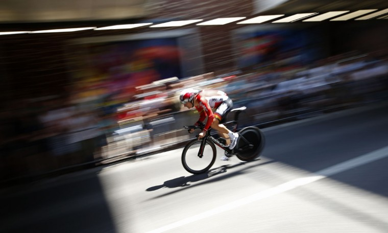 Denmark's Lars Ytting Bak rides during the first stage of the Tour de France cycling race, an individual time trial over 13.8 kilometers (8.57 miles), with start and Finish in Utrecht, Netherlands, Saturday, July 4, 2015. (AP Photo/Laurent Cipriani)