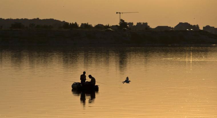 A gull flies by men fishing at sunset on a lake in Bucharest, Romania, Thursday, July 9, 2015. Temperatures went higher than 37 degrees Celsius or 98.6 Fahrenheit for ae third day running. (AP Photo/Vadim Ghirda)