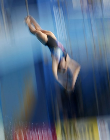 Malaysia's bronze medalist Pandelela Pamg competes in the women's 10m platform diving final at the Swimming World Championships in Kazan, Russia, Thursday, July 30, 2015. (AP Photo/Sergei Grits)