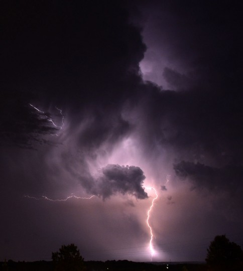 Lightning is seen from Vestavia Hills, Ala., a suburb of Birmingham, Wednesday, June 24, 2015. (Mark Almond/AL.com via AP)