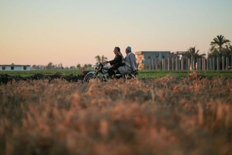 In this Wednesday, May 6, 2015, photo, farmers ride a motorcycle past agricultural land and newly constructed buildings, in a village in the Nile Delta town of Behira, 300 kilometers (186 miles) north of Cairo, Egypt. Urban growth has become the chief threat to farmland as Egyptian farmers haphazardly _ and illegally _ build new houses to make room for the next generation. (AP Photo/Mosa'ab Elshamy)