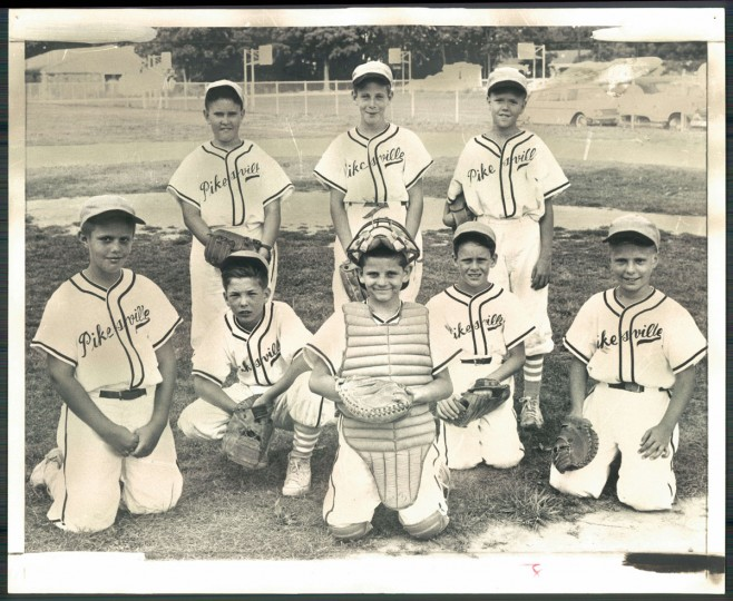 STARTING EIGHT - The Pikesville Minor League Dodgers go after the loop crown tonight against the Orioles. Catching will be Pat Walsh (front row). The infield will be (middle row): Mark Beach, Jan Rosenthal, Randy Whitman and Bruce Stafford. The outfield comprises (back row): Mike Harrison, Bruce McFarlane and Billy Drew. (William L La Force Jr/Baltimore Sun, 1962)
