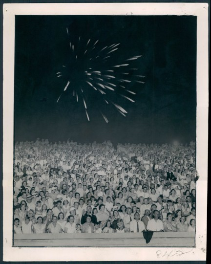 Fireworks at a stadium, 1934. (Baltimore Sun archives)