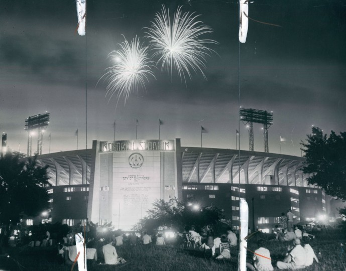 Fiery Showers: Spectators outside as well as inside Memorial Stadium enjoyed the Fourth of July fireworks, 1960. (Baltimore Sun archives)