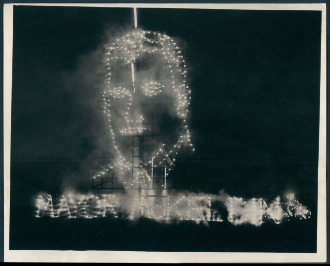Fireworks at a stadium, 1943. (Baltimore Sun archives)